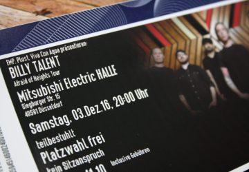 Tickets Billy Talent Afraid of heights düsseldorf