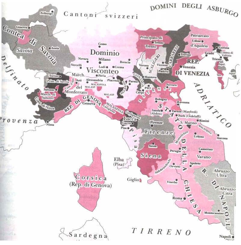 mappa del nord italia nel 1350