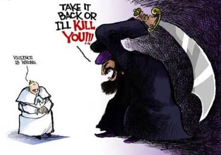 Vignetta: il papa e l'estremismo islamico