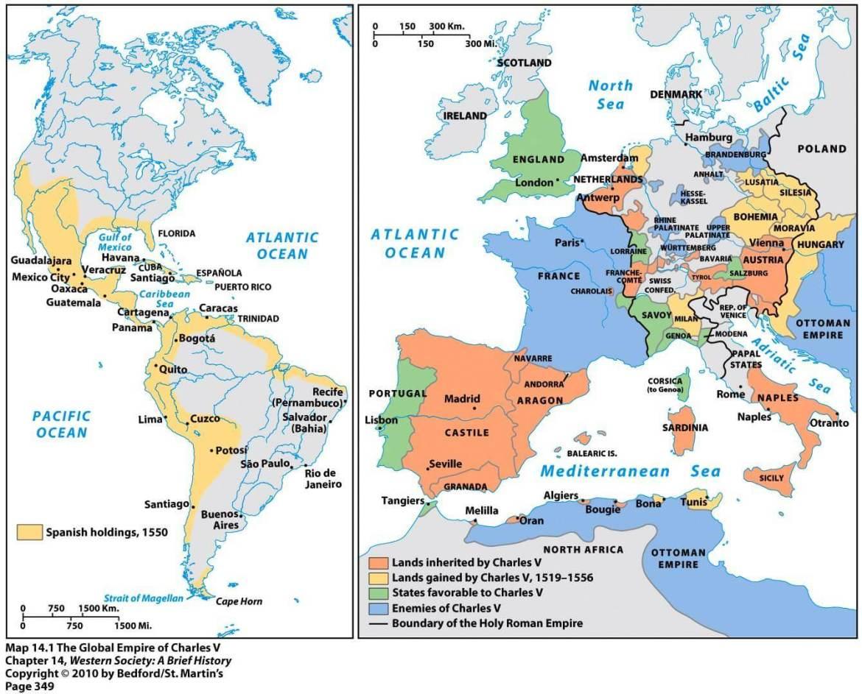 Territori Carlo V Asburgo e Borbone