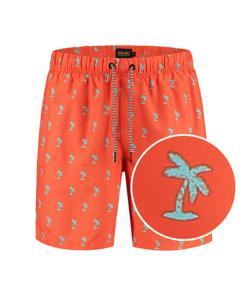 Fel rode zwembroek met palmbomen