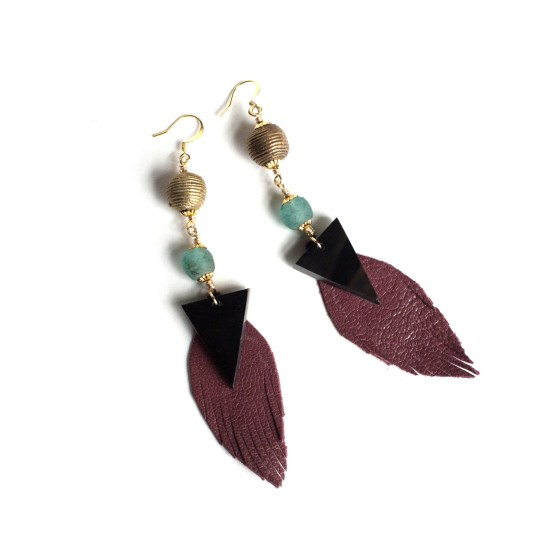 Ankole and Leather Leaf drop earrings