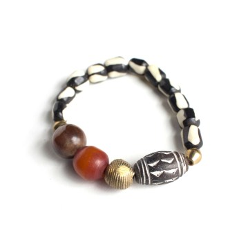 Red and Bone Stretch Bracelet