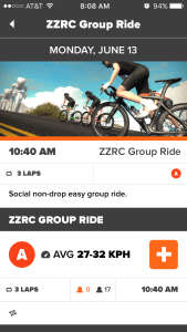 Click the orange + to sign up for the ride