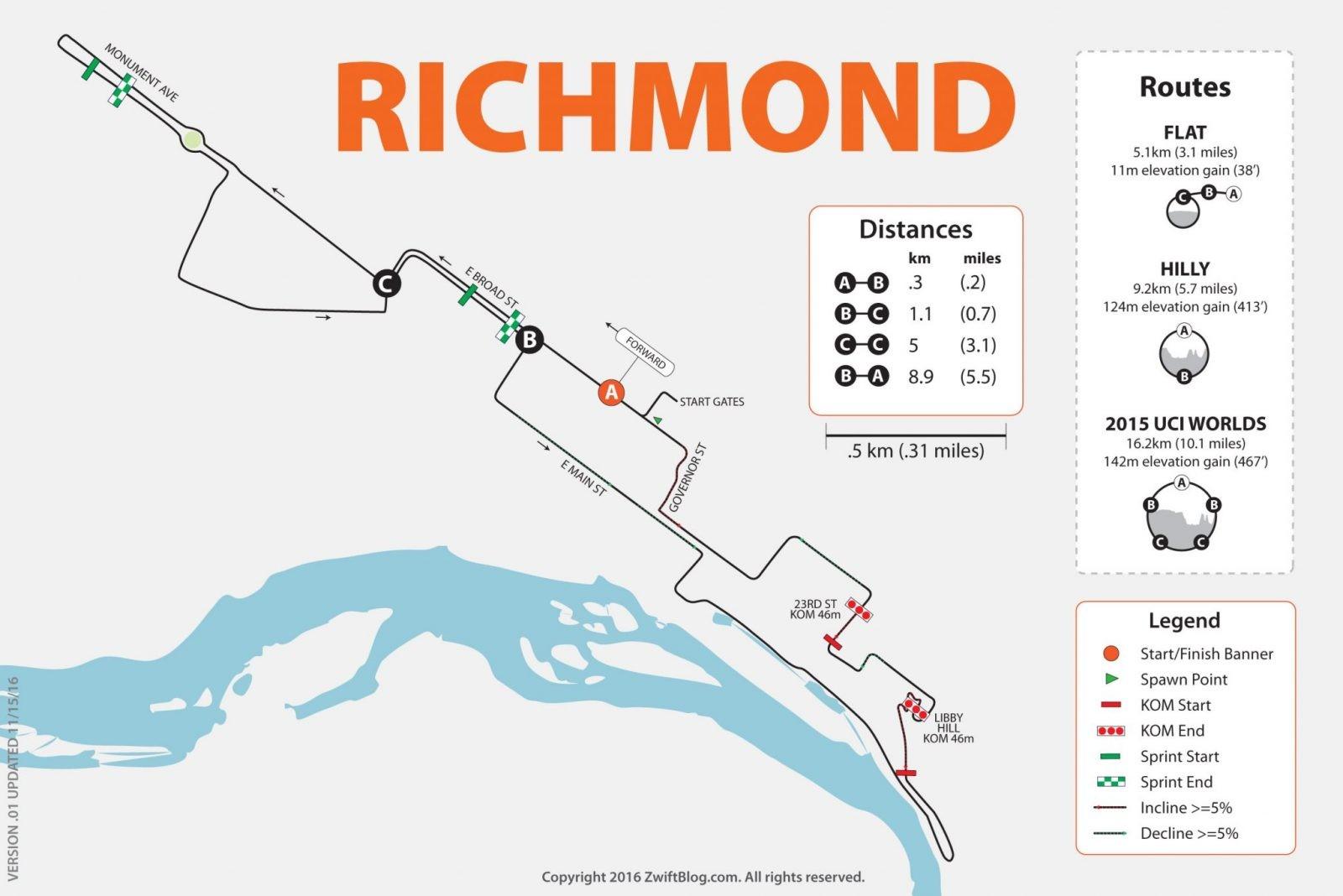 Zwift Richmond VA course map Zwift Insider