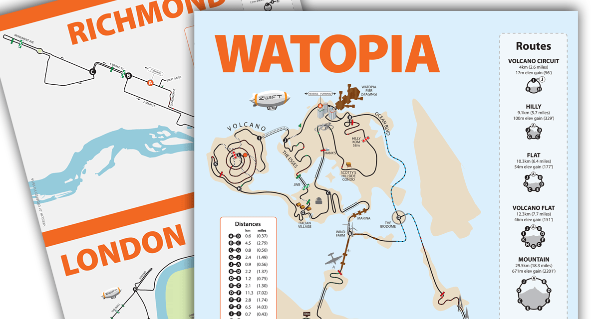 Watopia, Richmond, and London map posters in stock
