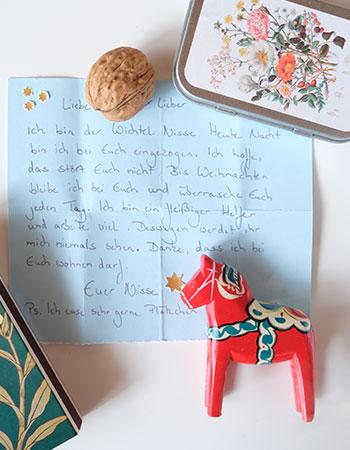 Hier seht ihr den Brief vom Weihnachtswichtel Nisse.