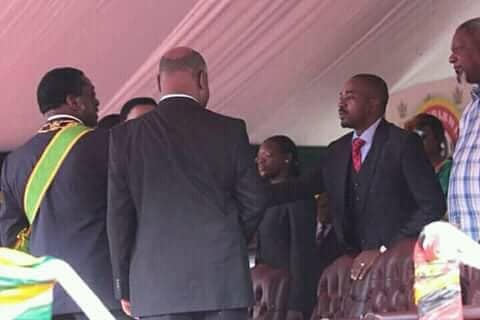 PICTURE: Chamisa Face To Face With Mnangagwa