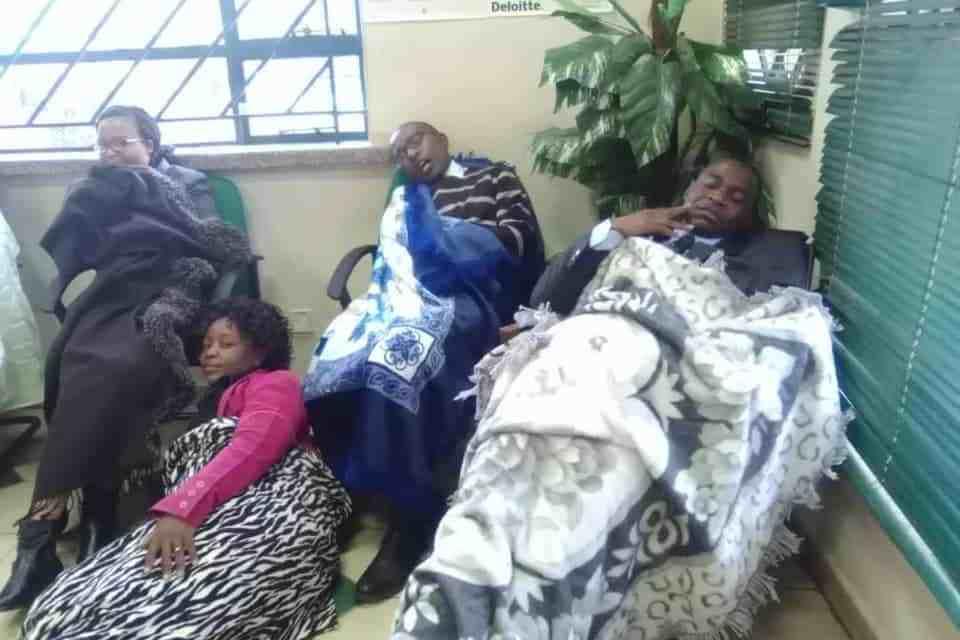 Stranded NBS staff sleep outside bank