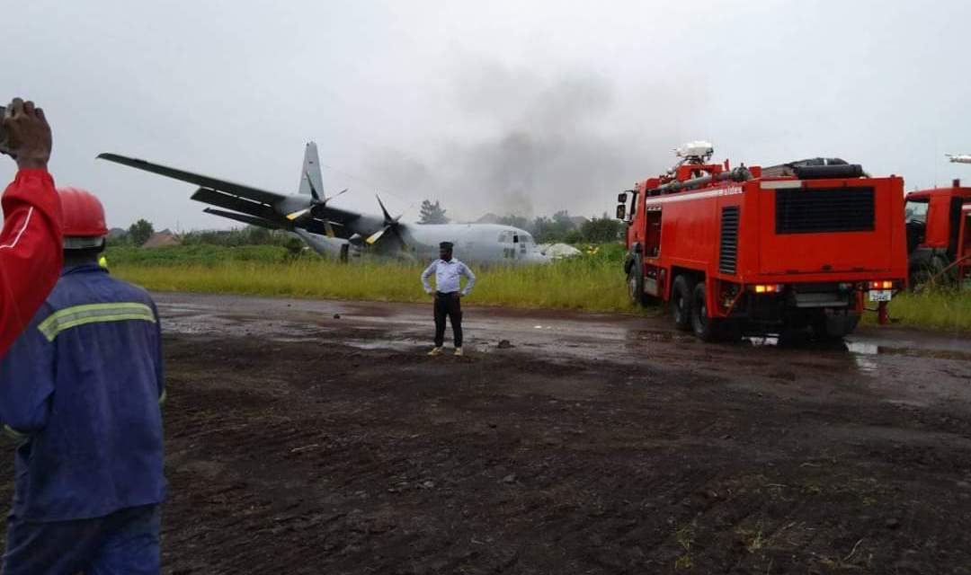 South African plane carrying 67 people crashes, catches fire at Goma Airport in DRC..PICTURES, VIDEO