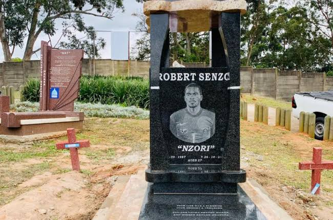 Late South Africa goalkeeper Senzo Meyiwa tombstone vandalised: PICTURES