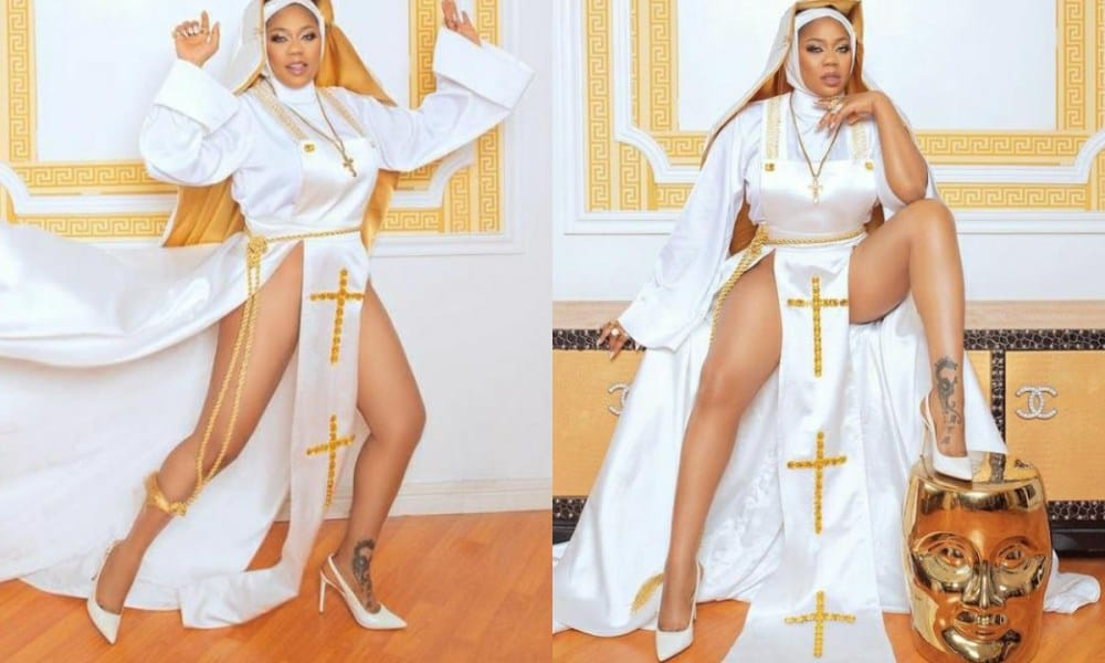 Toyin Lawani Clashes With Followers Over Her Nun Outfit Asking Her To Repent