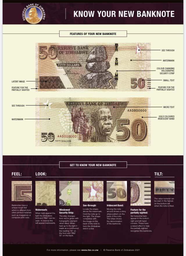 rbz new zimbabwe zim bank note $50