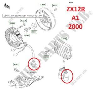 vue éclatée prise zx12r stator régulateur A1 2000 A2 2001 B1 2002 B2 2003