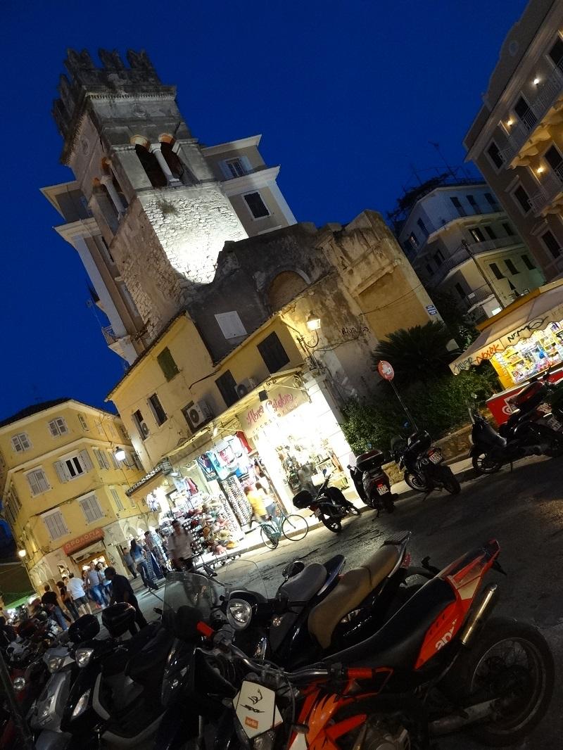 Corfu Town o zmierzchu