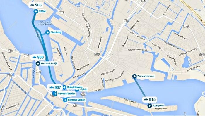 Mapa Amsterdam ndsm promy