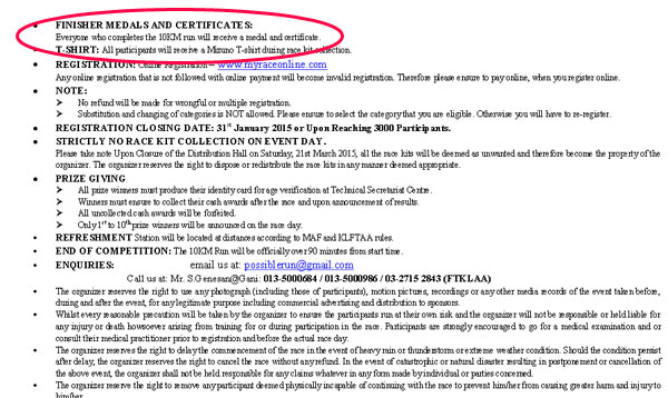 Screenshot taken from the info PDF. They promised finisher certificates.
