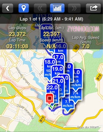 The route, as captured by my Pedometer app