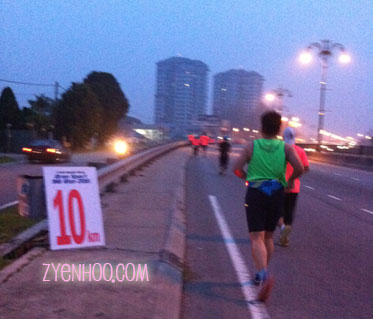 Just hit the 10km mark! At least there were distance signages.