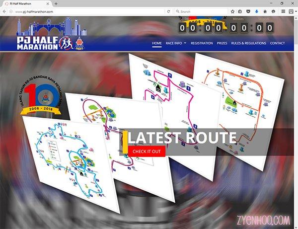 PJ Half Marathon's well-maintained well-designed website