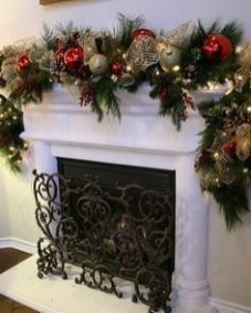 Creative Rustic Christmas Fireplace Mantel Décor Ideas 03