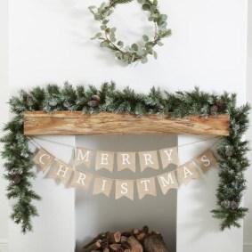 Creative Rustic Christmas Fireplace Mantel Décor Ideas 05