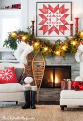 Creative Rustic Christmas Fireplace Mantel Décor Ideas 12