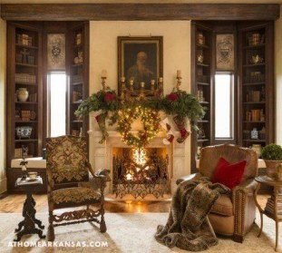 Creative Rustic Christmas Fireplace Mantel Décor Ideas 18