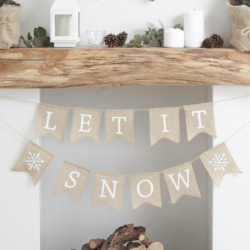 Creative Rustic Christmas Fireplace Mantel Décor Ideas 35