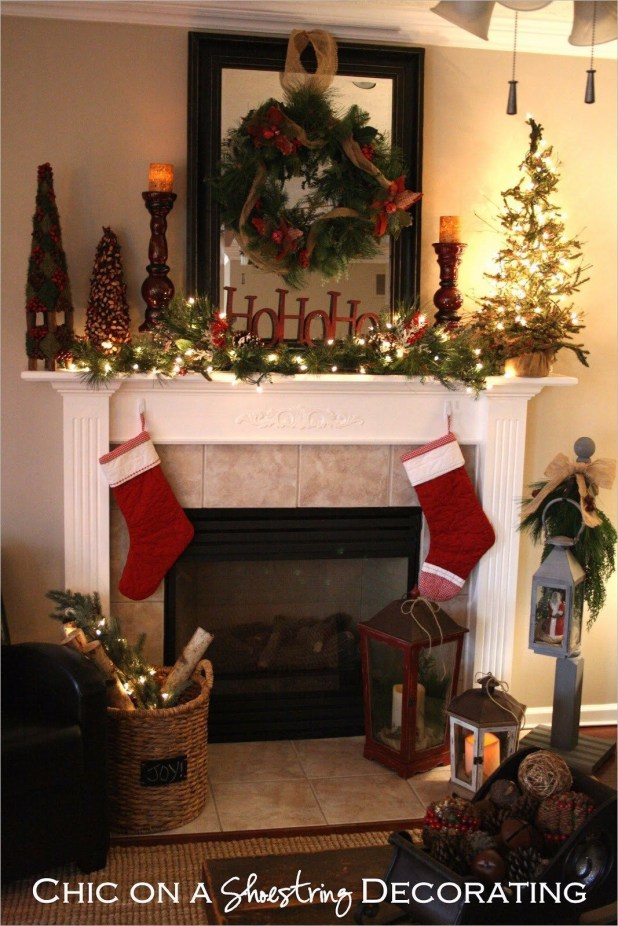 Creative Rustic Christmas Fireplace Mantel Décor Ideas 37