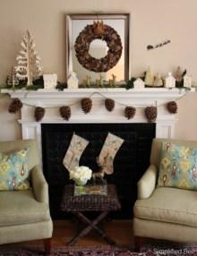 Creative Rustic Christmas Fireplace Mantel Décor Ideas 39