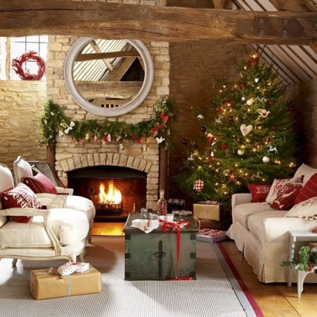 Gorgoeus Rustic Stone Fireplace With Christmas Décor 03
