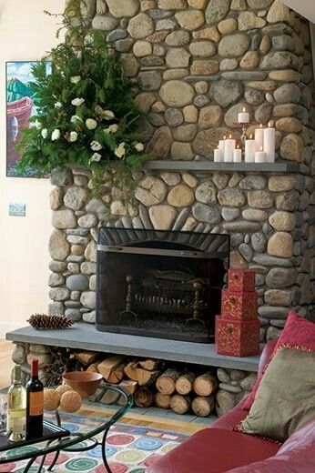 Gorgoeus Rustic Stone Fireplace With Christmas Décor 10