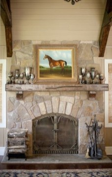 Gorgoeus Rustic Stone Fireplace With Christmas Décor 16
