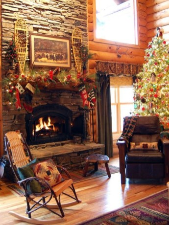 Gorgoeus Rustic Stone Fireplace With Christmas Décor 36