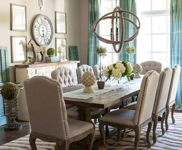 Wonderful French Country Dining Room Table Decor Ideas32