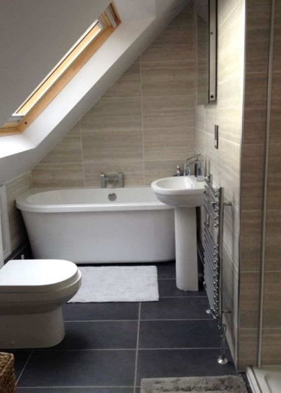 47 Fascinating Small Attic Bathroom Design Ideas - ZYHOMY