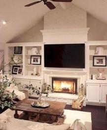 Unique Farmhouse Fireplace Design Ideas For Living Room10
