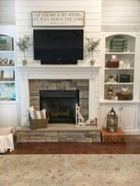 Unique Farmhouse Fireplace Design Ideas For Living Room12