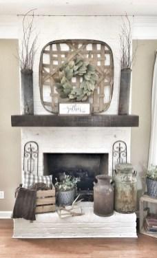 Unique Farmhouse Fireplace Design Ideas For Living Room47