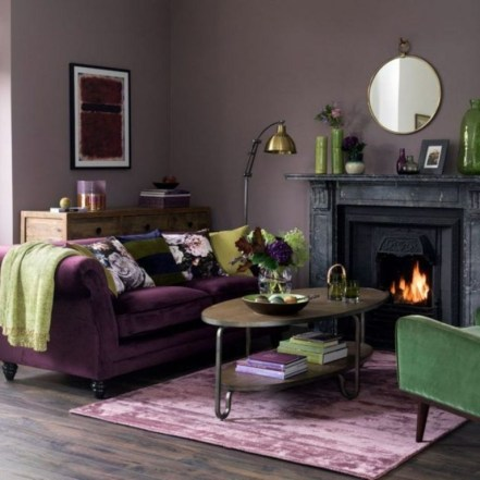 Modern Living Room Ideas With Purple Color Schemes39