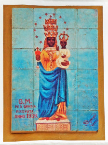 The Blsck Madonna shrine on a wall at the Menabrea brewery