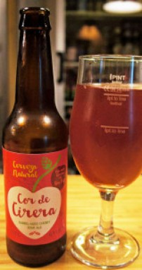 Cor de Cirera sour cherry beer, a lovely brew, aged in former red wine barrels for a year, made by the Cas Cerveser brewery in Galilea, Majorca, about eight miles west of Palma