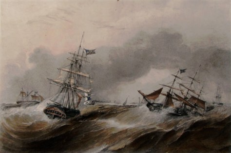 Packet and Emigrant Ships Ashore, another image of the Great Storm, published in 1841.