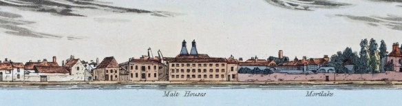 Weatherstone's brewery, split by Thames Street, from Samuel Leigh's 1829 Panorama of the Thames