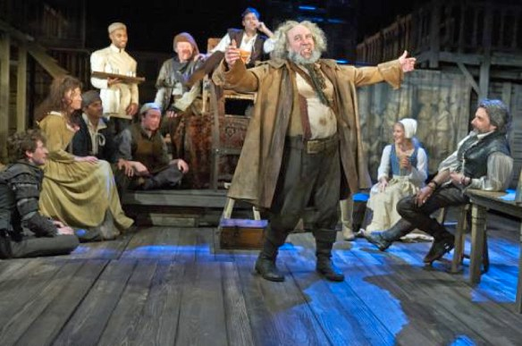 Antony Sher as Falstaff, entertaining his local, the Boar's Head, in the Royal Shakespear's 2014 production of Henry IV