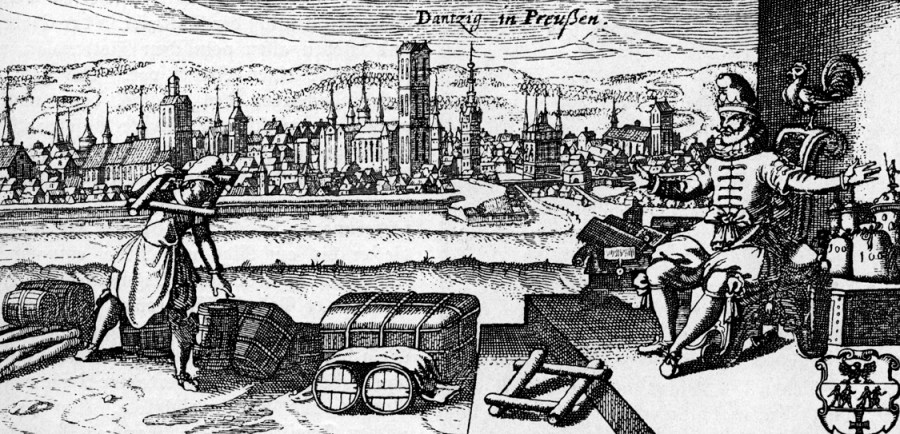 Danzic circa 1700: are those kegs of spruce beer on the quayside?