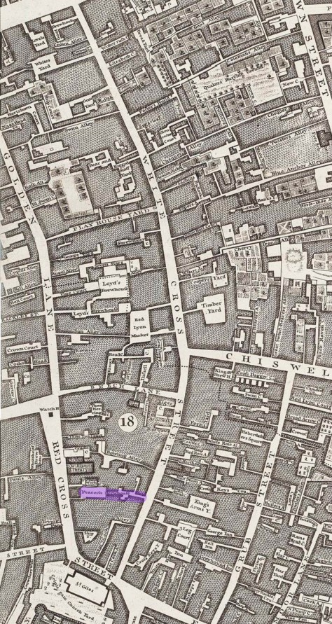 The Peacock brewhouse in Whitecross Street on a map of 1746: nearby is the King's Heade brewery in Chiswell Street, later acquired by Samuel Whitbread