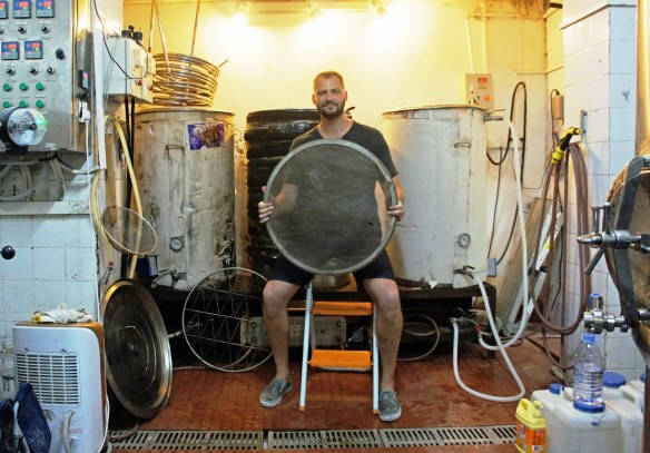 Joe Finkenbinder in the BionicBrew 'brewhouse' (brewflat?)