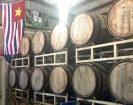 Beer maturing in Bourbon whiskey barrels at the Bayou Teche brewery. That flag is, hem hem, the one flown by Louisiana when it left the United States at the start of the Civil War